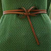 Painted Edge Double Belt - Green : Lowie, Handmade woollen accessories and clothing