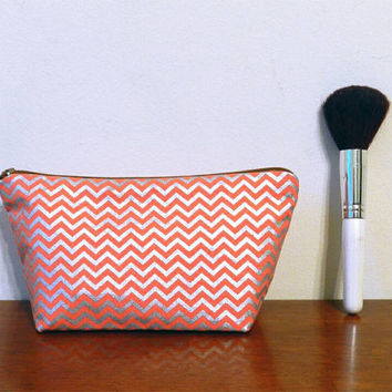 Dark Peach/Coral and Shiny Silver Chevron Print Small Travel Makeup/Cosmetics/Toiletries/Vape Pen Bag/Pouch/Holder with Caramel Brown Zipper