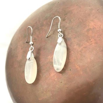 Moonstone Earrings, Wedding Earrings, White Moonstone, Crystal Jewelry Flashy Moonstones White Silver Crystal Healing Earrings Drop Earrings