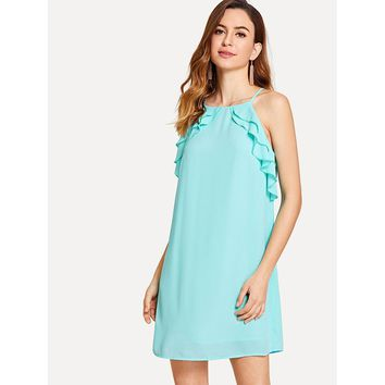 Tiered Ruffle Detail Tunic Cami Dress