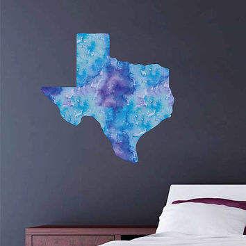 kcik1905 Full Color Wall decal Watercolor Dallas state Texas living room bedroom