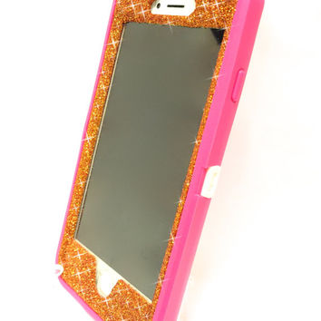iPhone 6 Plus OtterBox Defender Series Case Glitter Cute Sparkly Bling Defender Series Custom Case  pink / orange
