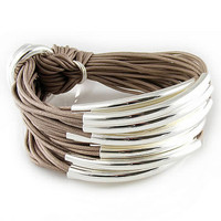 Silver Bracelet Taupe Cord by Gillian Julius