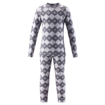 Merino wool Tencel kids' base layer thermal underwear set sports long johns boys girls top and pants  kinsei
