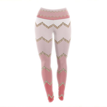 "Monika Strigel ""Avalon Coral Ombre"" Pink Chevron Yoga Leggings"