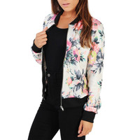 Camouflage Floral Print Casual Slim Women Basic Coat Zipper Bomber Jacket Street Fashion Outfit Sport Autumn Winter Jackets