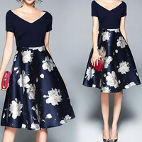 Floral Print Colorblock Flare Dress
