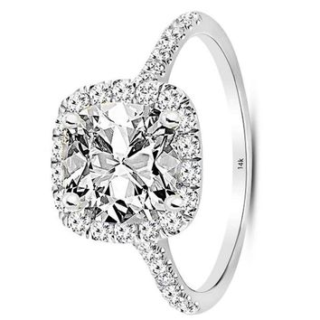 .2.25 Carat GIA Certified 14K White Gold Halo Cushion Cut Diamond Engagement Ring (1.5 Ct G Color VS1 Clarity Center)