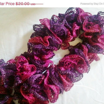 ON SALE Ruffle Scarf in Purple and Pink Sparkly by MadebyMegShop