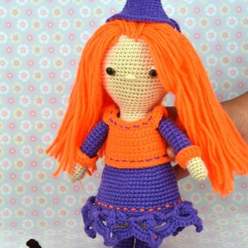 3d81271507 Halloween Witch - crochet - amigurumi orange purple - pumkin -Pl