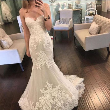 Honey Qiao Wedding Dresses Vintage Lace Mermaid Custom Made Sweetheart Bridal Gowns Appliques Dress For Wedding 2017