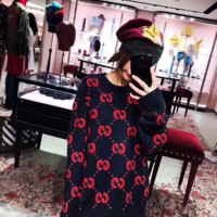 '' GUCCI '' Fashion Embroidery Sleeve Top Sweater Pullover