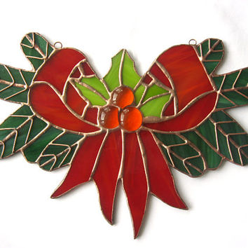 Stained glass christmas ornaments.Christmas decoration.Window  panel.