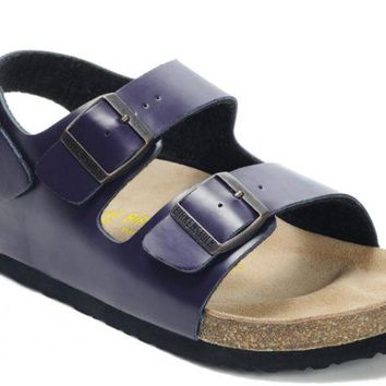 Birkenstock Milano Sandals Leather Purple - Ready Stock