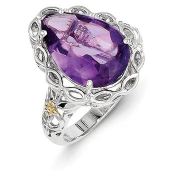 Antique Style Sterling Silver with 14k Yellow Gold Amethyst Ring