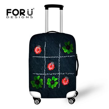 FORUDESIGNS Thick Elastic Ladybug Jiugongge Printed Clear Luggage Cover Scratch Resistant Covers for Suitcases Custom for Gift
