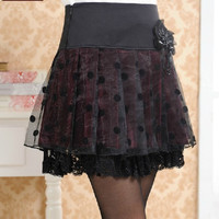 Black Dot Lace Skirt