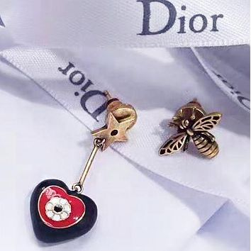 DIOR Fashion New Bee Love Heart Star Personality Long Earring Accessories Women