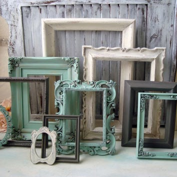Cottage Chic Mint Green, Antique White and Gray Painted Vintage Frames, Set of 10 Open Frames, Shabby Chic Frame Gallery, Up Cycled Frames
