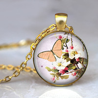 Peach butterfly and apple blossom altered art pendant necklace summer jewelry, apple blossom, nature inspired made in USA