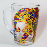 Yellow elephant mug, Indian elephant mug, Funny mug, Painted coffee mug, Glass unique mug, Gift for her, Personalized, coffee mug, 11 oz mug