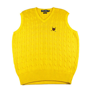 Polo Golf Ralph Lauren Yellow Cable Knit Sweater Vest Mens Size Large