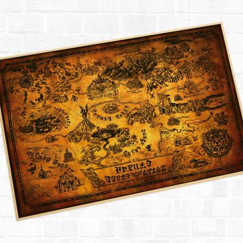 Vintage Hyrule Maps the Legend of Zelda Video Game Poster Retro Decorative DIY Wall Stickers Art Home Bar Posters Decor Gift