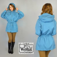80's WOOLRICH all-weather woodland hiking camping HOODED PARKA raincoat jacket, extra small-medium
