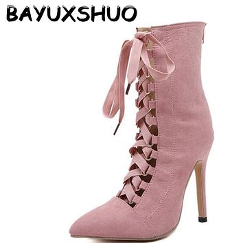 Women Pumps Sandal Booties Lace Up Shoes