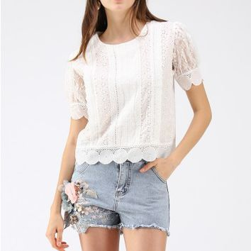 Filled with Eyelet Embroidered Top in White