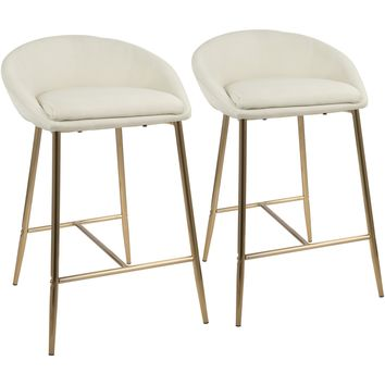 "Matisse Glam 26"" Counter Stools with Cream Fabric, Gold (Set of 2)"