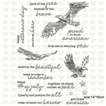 Julyarts14*18cm Animal Eagle Words Cutting Dies Clear Stamps for Scrapbooking 2018 Embossing Stamps Stencils Metal Dies Cuts