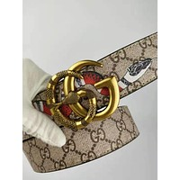 GUCCI 2018 new trend double G buckle simple men and women models wild belt Khaki