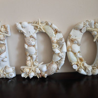 Beach Wedding Seashell Letters - I Do - White Seashell Letters - Beach Wedding Sign - Seashell Decor, Beach Decor, Coastal Home decor