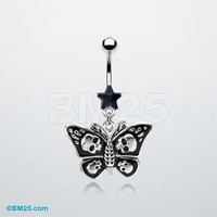 Gothic Poison Butterfly Belly Ring