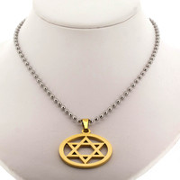 """Edforce Stainless Steel Gold Plated Star of David on Circle with 24"""" Bead Chain"""