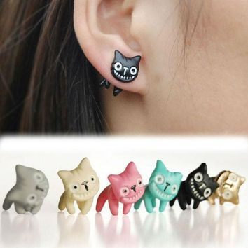 1pc Mystic Lovely Cute Cat Ear Stud Womens Mens Piercing Earring Alloy Multi Colors Jewelry