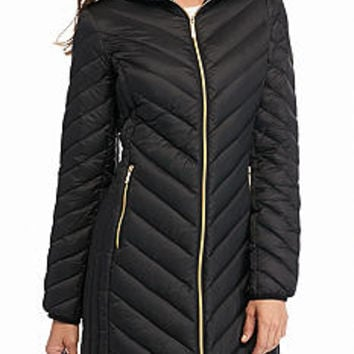 MICHAEL Michael Kors Chevron Stitch Zip Front Down Coat with Hood