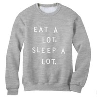 Green Turtle - EAT A LOT SLEEP A LOT Navy XX-Large Sweatshirt