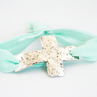 Pastel Blue Wristband with Silver Cross