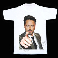 Robert Downey JR T Shirt Movie Actor Tee Iron Man Shirts Short Sleeves White Tee Women T-Shirt Unisex T-Shirt White T Shirt Size S,M,L,XL