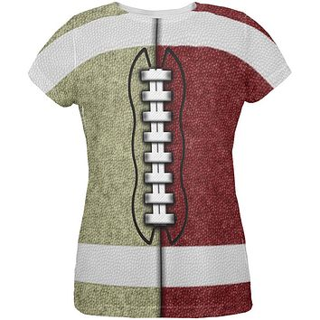 Fantasy Football Team Beige and Maroon All Over Womens T Shirt