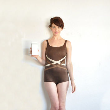 chocolate brown swimsuit . mod one piece criss cross maillot .extra small.small.xs