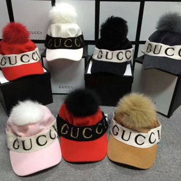 """Gucci"" Trending  Women Men Knit Letter Logo Headband Baseball Cap Flat Cap Couple Webbing Hat"