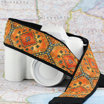 Gold Tribal dSLR Camera Strap, Southwestern, Camera Neck Strap, Canon Nikon Strap, Pocket, Photographer, SLR, 229 w