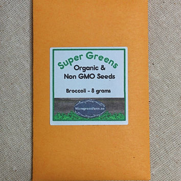Organic Broccoli Seed, 8 grams, approx 2,000 seeds, Non GMO  enough for 2 small trays of microgreens