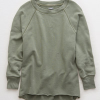 Aerie Raw Cut City Sweatshirt, Olive Fun
