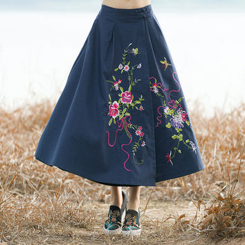 Ethnic Style Skirt Autumn Winter Vintage Fashion Women Elastic High Waist Embroidery Pattern Ankle Length Skirts Ladies New