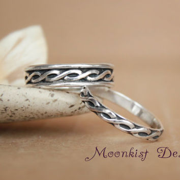 Narrow and Wide Celtic Endless Knot Pattern Wedding Band Set in Sterling Silver - Commitment Band Set - Promise Band Set