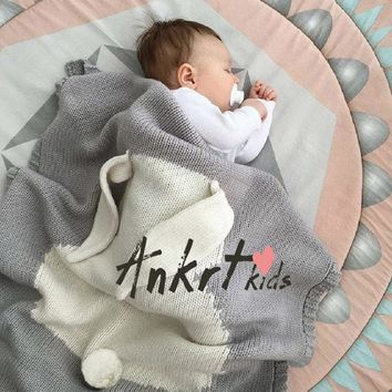 Cute Knitted Soft Baby Rabbit Swadding Blanket Newborn Infant Gilrs Boys Cotton Swaddle Towel